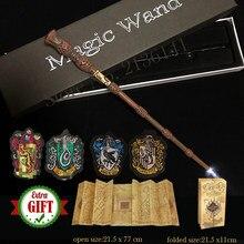 Voldemort hermione draco varinhas de luz brilhante varinha mágica mapa de potte marauder e 4 etiquetas de pano presente com caixa brinquedo do miúdo