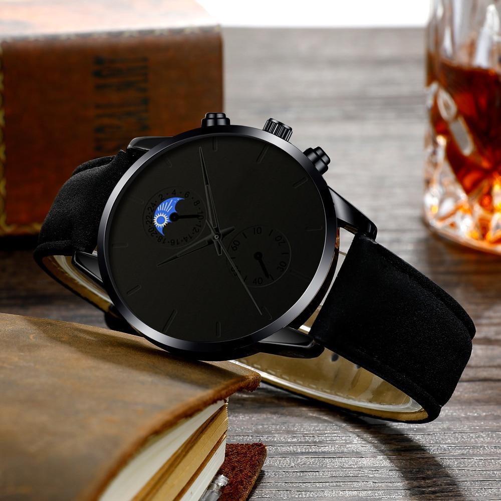 H132251cb4c34488fb7fb67ee4d88657br Minimalist Fashion Men's Watch Luxury Business Casual Black leather Watches Classic Male Wrist Watch Analog Clock Herren Uhren