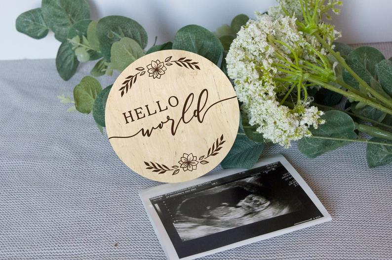 Hello World Baby Announcement, Newborn Baby Announcement, Baby Keepsake, Newborn Photography Prop, Baby Milestone
