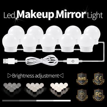 Lampa LED nad lustro lampka do makijażu USB LED lampka nad lustro piękna kinkiet Hollywood LED makijaż toaletka 2 6 10 14 żarówki tanie i dobre opinie CanLing CN (pochodzenie) Przełącznik LED Makeup Mirror Vanity Light Bulbs 12 v Nature White USB Plug 2pcs 6pcs 10pcs 14pcs