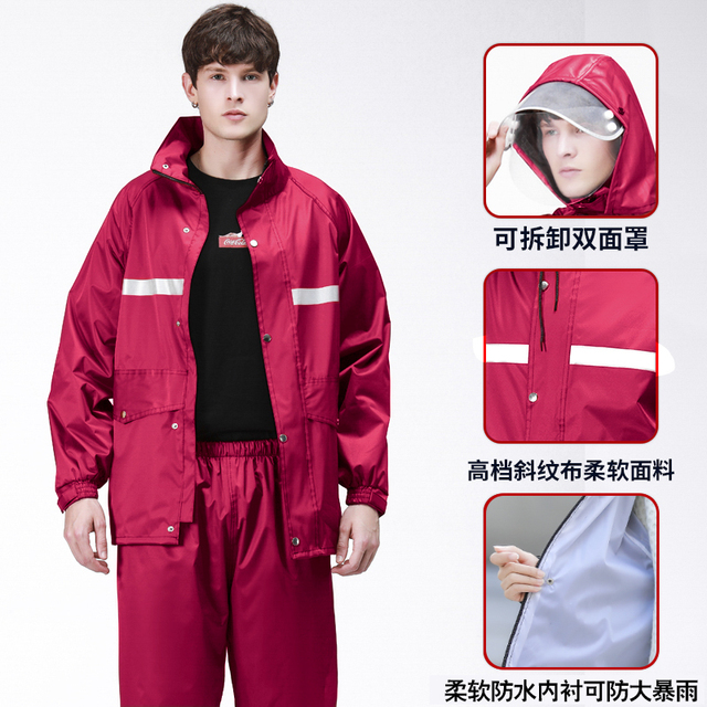 Men Motorcycle Raincoat Rain Pants Suit Adult Thickening Rain Poncho Waterproof Suit for Fishing Rainwear Casaco Masculino Gift 2