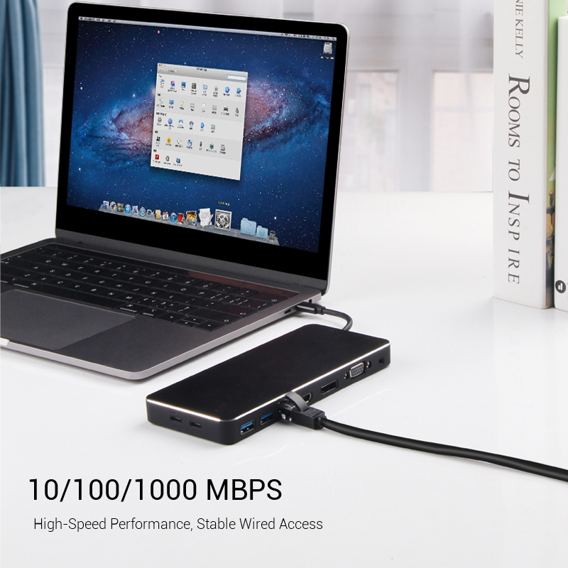 USB C adaptateur Multiple en un USB C vers Hdmi/Vga/Rj45/Pd/Aux adaptateur pour Macbook Samsung Galaxy S10 Huawei Mate 20 P20 Pro Type C - 5