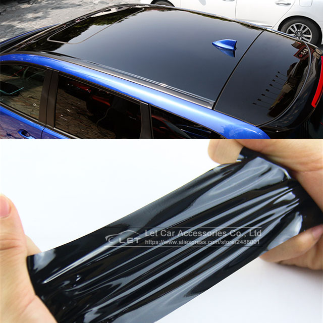Bright Black Glossy Black Vinyl Car Decal Wrap Sticker Black Gloss Film Wrap Retail For HOOD Roof Motorcycle Scooter