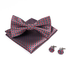 Novelty Men's Bowtie Handkerchief Burgundy Bow Tie Pocket Square Cufflinks Set Dot Plaid Stripe Wine Red Wedding Vintage Necktie
