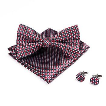 Novelty Men's Bowtie Handkerchief Burgundy Bow Tie Pocket Square Cufflinks Set Dot Plaid Stripe Wine Red Wedding Vintage Necktie casual twill stripe pattern tie pocket square bow tie