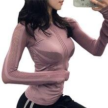 Sports Tops Women Tshirt Mesh Patchwork Yoga Shirt Long Sleeve Running Sportwear Fitness Workout Crop