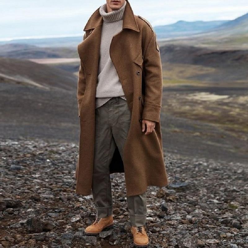 Long Trench Coat Men Solid Classic Autumn Winter Jacket Men Casual Loose Long Coat Trench Overcoat Streetwear Coat