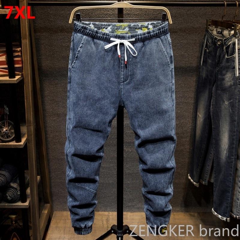 Fall Harem Jeans Male Stretch Student Black Feet Pants Men 6XL 5XL Casual Beaded Pants