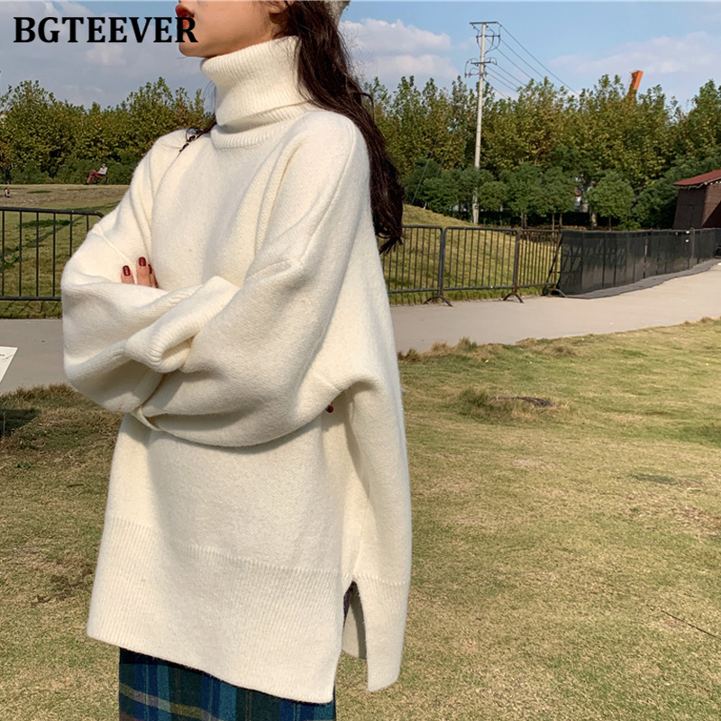 BGTEEVER Casual Warm Women Turtleneck Sweaters Pullovers Thicken Female Knitted Tops Ladies Tops Jumpers Winter 2019