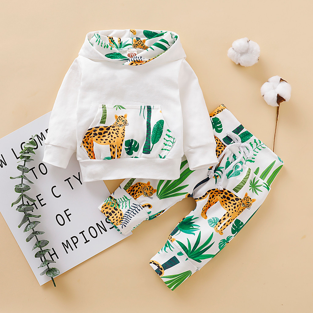 Autumn Baby Boy Girl Clothes Sets Toddler Newborn Cartoon Hooded Tops Pullover Pants Outfits Kit Roupa Infantil Babybor