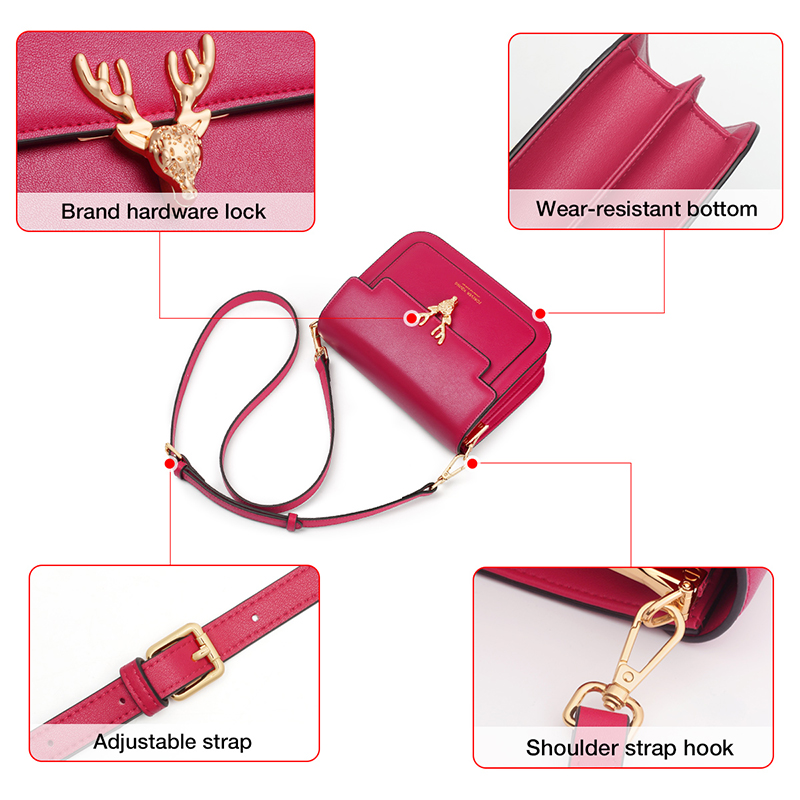 Foxer Zaky Women Cow Leather Small Shoulder Bag