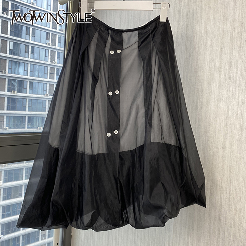 TWOTWINSTYLE Casual Patchwork Volie Women Skirt High Waist Asymmetrical Elegant Skirts Female Fashion Clothing 2020 Spring Tide