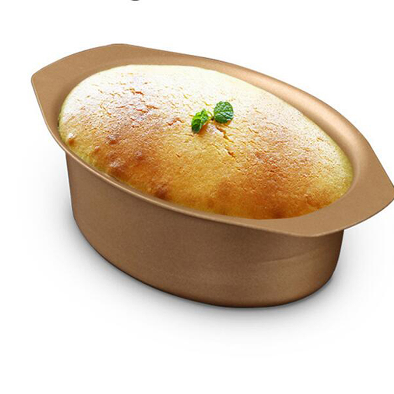 Golden Home Long Side Cheesecake Bread <font><b>Mould</b></font> Champagne Gold Non Stick <font><b>Mould</b></font> Elliptical <font><b>Cheese</b></font> <font><b>Mould</b></font> Kitchen Bake Tools image