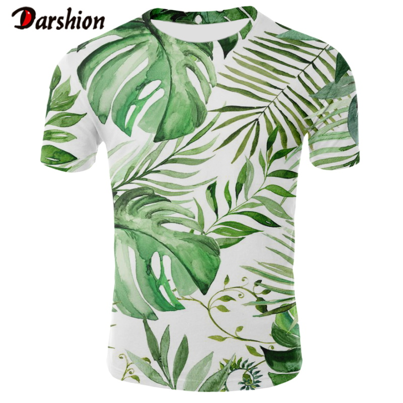 Men Hawaiian Summer Banana Leaf Printed Beach Sea Short Sleeves Tops For Male Summer Tshirt Top Clothing Tropical Holiday Style