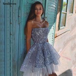 Smileven Короткие коктейльные платья с блестками без бретелек мини-платье для выпускного с открытой спиной Вечерние платья Abendkleider 2020