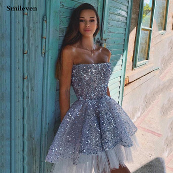 Smileven Short Sequins Cocktail Dresses Strapless Mini Prom Dress Homecoming Party Dress Abendkleider 2020 2020 light sky blue lace graduation short prom dresses bateau neck satin ruched mini homecoming party cocktail dress for girls