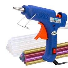 20w pistola de cola quente conjunto com 7x100mm quente melt cola varas pinças alta temperatura aquecedor reparação diy ferramenta mini armas