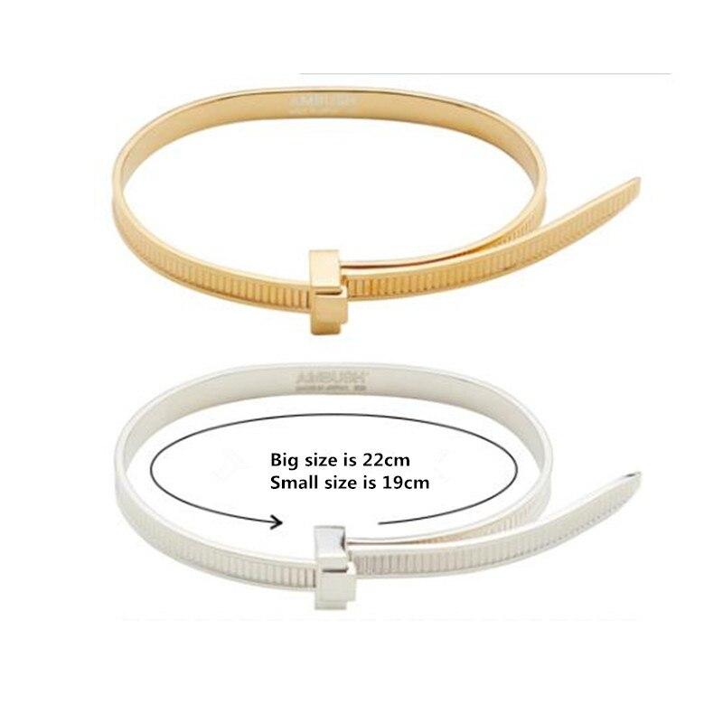 AMBUSH хип хоп простой личности 925 Серебряный легко затягивающийся браслет регулируемые персональные подарки Панк ювелирные изделия для женщин и мужчин - 4