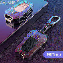 Zinc Alloy+Leather Car Key Case For Toyota Camry Corolla C HR CHR Prado 2018 2 3 Button Auto Key Shell Keychain Accessories