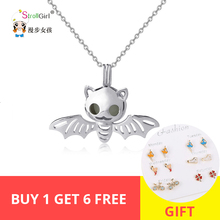 Strollgirl 100%925 sterling silver animal bat glow pendant chain necklace diy fashion jewelry making female gifts free shipping цена в Москве и Питере
