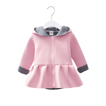 Winter Baby Girl Coat Fashion Children Girls Warm Cartoon Rabbit Ear Jackets Cute Kids Jacket 6-36 Months Cotton Infant Outerwea