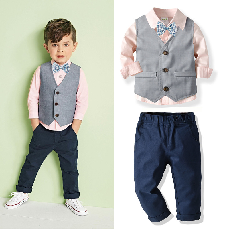 Pants Shirt Bow Tie Little Boy Formal Dress Suit Outfit Set Boys Suits Set 4pcs Christmas Clothes Set Vest