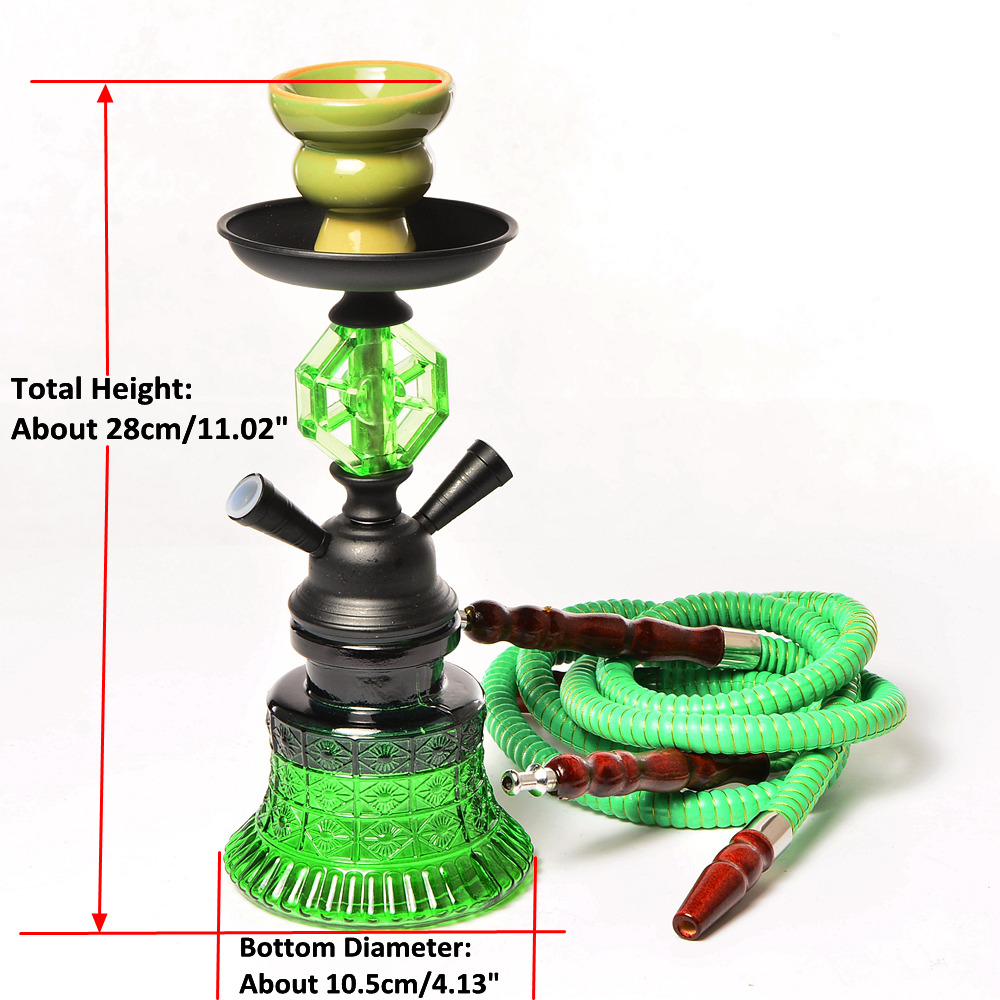 Small Travel Hookah Double Hose Glass Shisha Pipe Set Nargile Chichas with Narguile Hose Bowl Charcoal Tongs Smoking Water Pipe 2