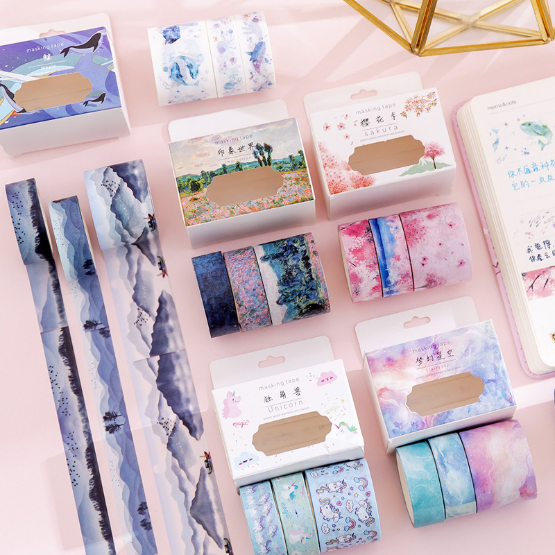 3Pcs/pack Cute Animal Floral Starry Sky Basic Color Washi Tape Scrapbook DIY Masking Tape School Stationery Sticker Label Decor