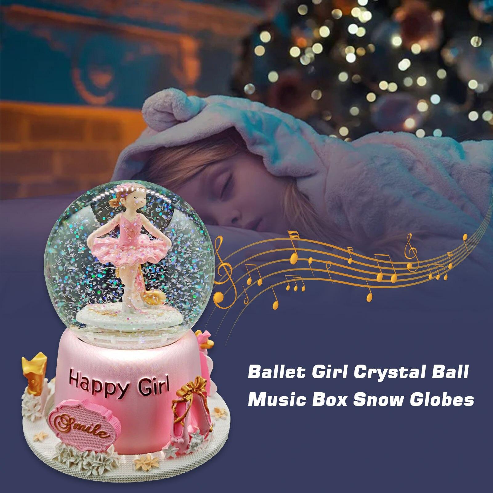 neve rosa bailarina bola de cristal caixa