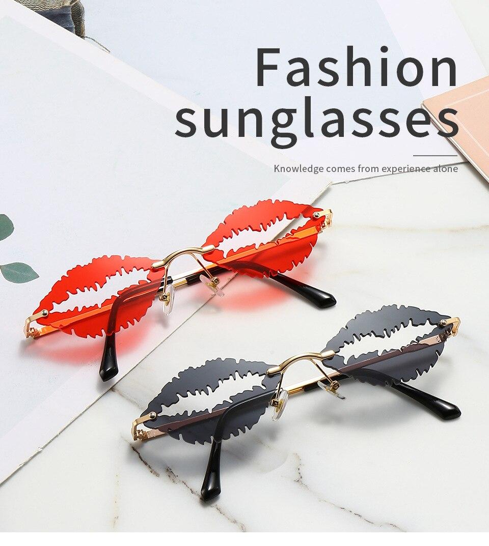 2021 модные уникальные дизайнерские без оправы с губами солнцезащитные