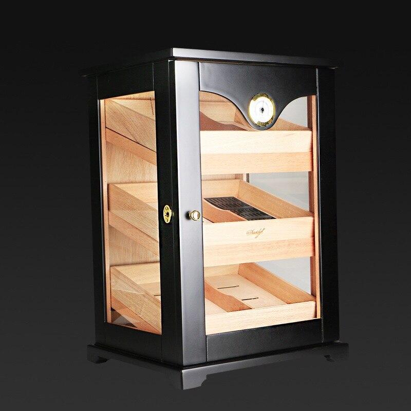 Zwarte kast sigaar humidor hoogwaardige meerdere lak cederhout 3 sigaret opbergdoos case aansteker Met Hygrometer