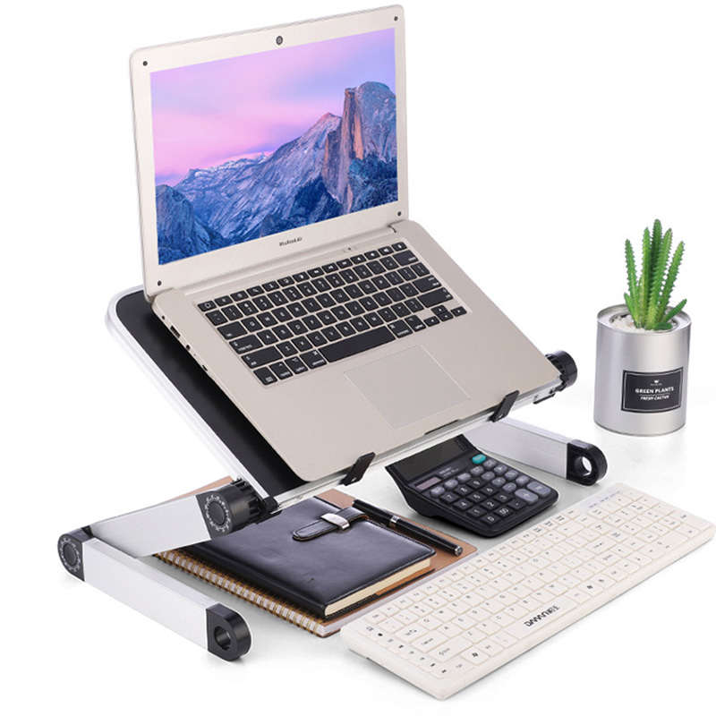 Portable Mobile Laptop Standing Desk For Bed Sofa Laptop Folding Table Notebook Desk With Cooling Fan For Office