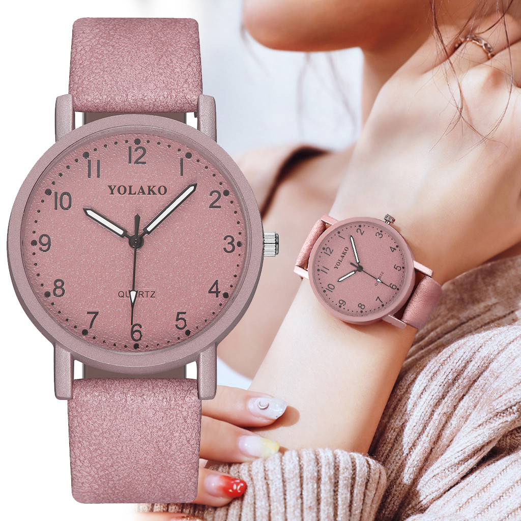 Fashion Women Romantic Pink Dial Wrist Watch Leather Strap Designer High Quality Ladies Clock Simple Dress Gfit Montre Femme@50
