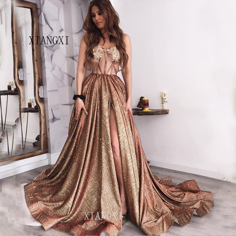 Vestidos Gold Evening Dress Long Evening Dresses Sweetheart Lace Appliques Formal Party Gowns robe de soiree