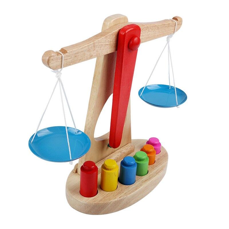 Novo montessori brinquedo educacional pequeno de madeira novo equilíbrio balança brinquedo com 6 pesos para crianças bebê