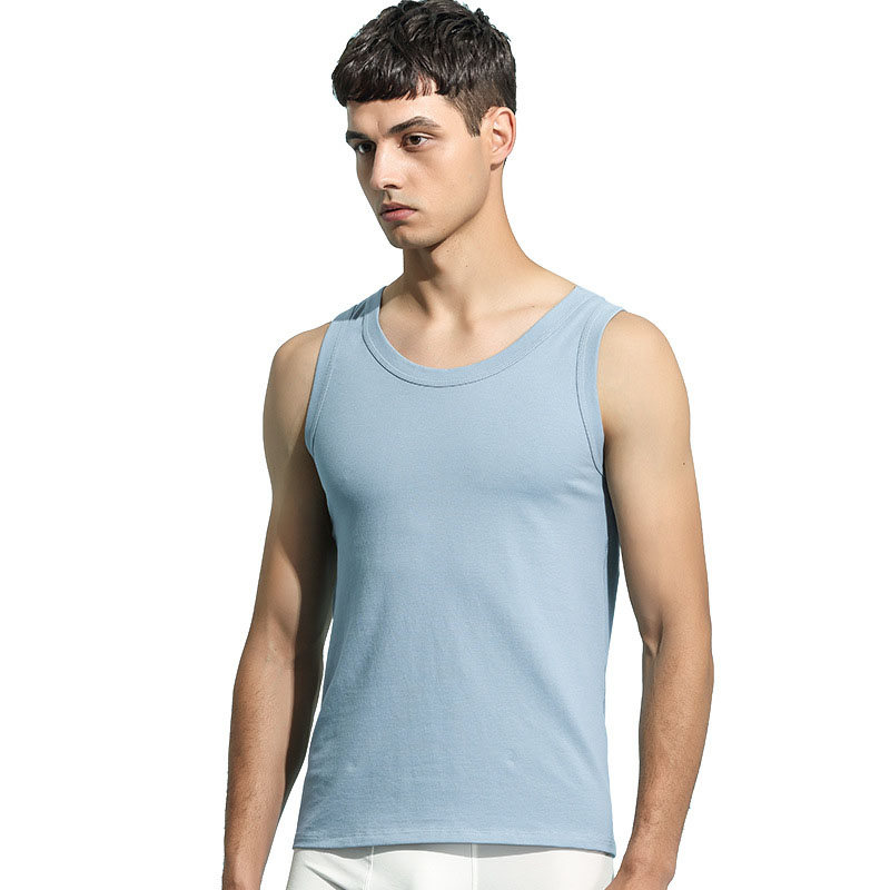 97% Cotton Men's Vest Sleep Tops Summer Soft Homewear Sports Breathable Home Clothes For Men Casual O-Neck Wear New Style 2021