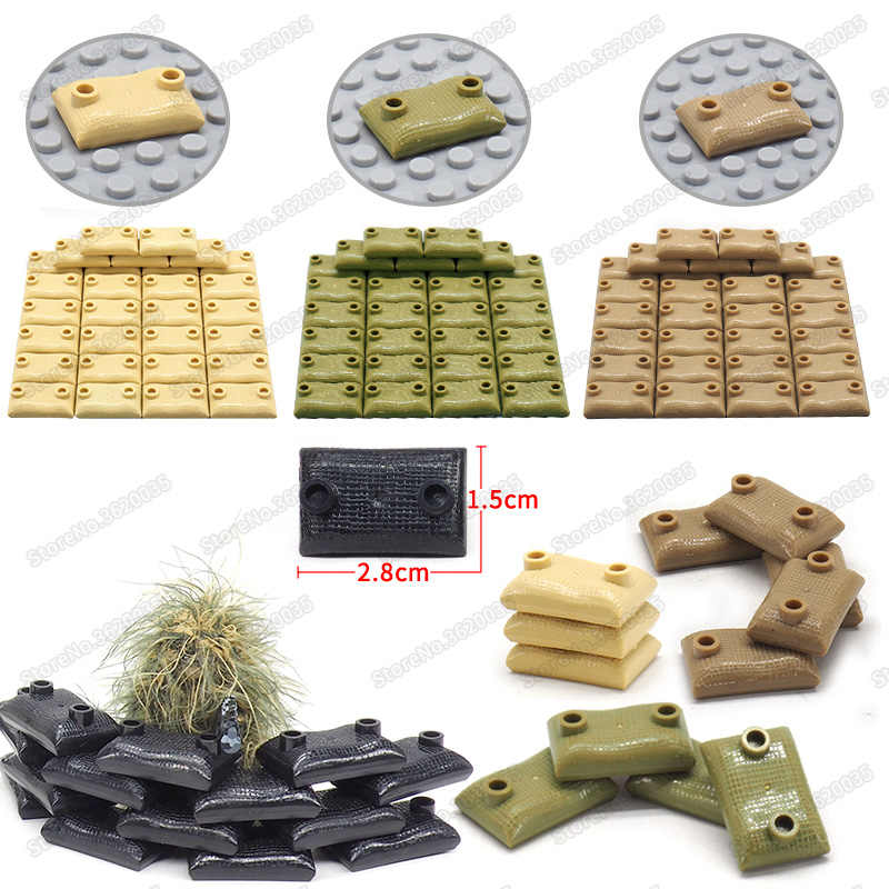 Legoinglys Military Sandbag Building Blocks Weapons Cover Bag Assemble Model Diy City Figures ww2 Moc Child Christmas Gifts Toys