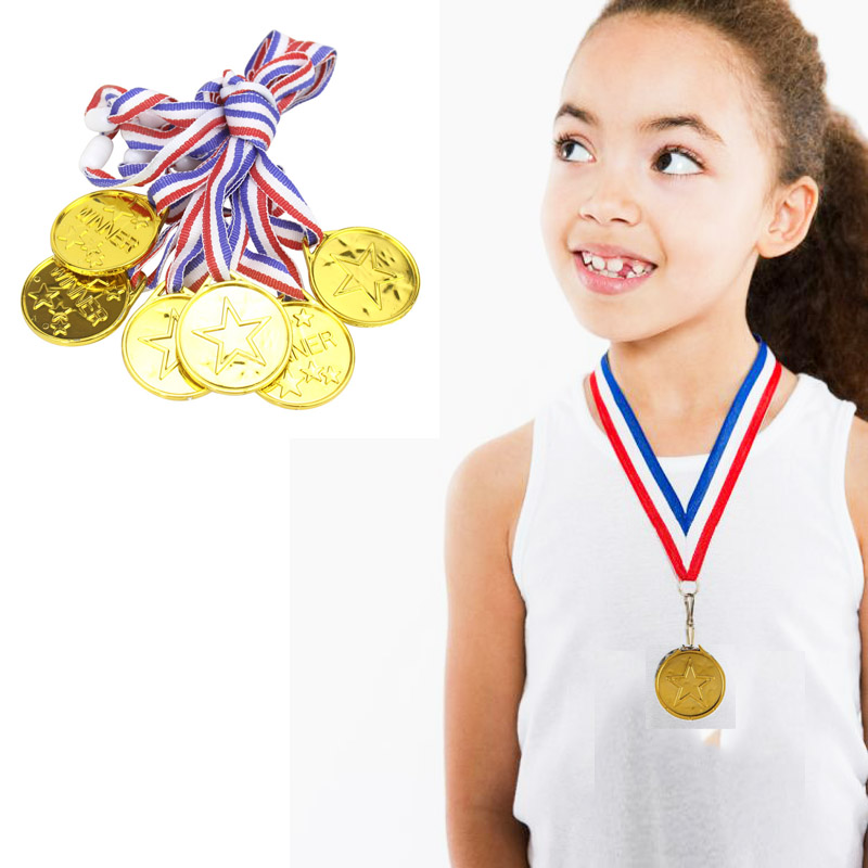 6 x Kids Gold MEDALS Plastic WINNERS Childrens Sports Day Winner Party Awards