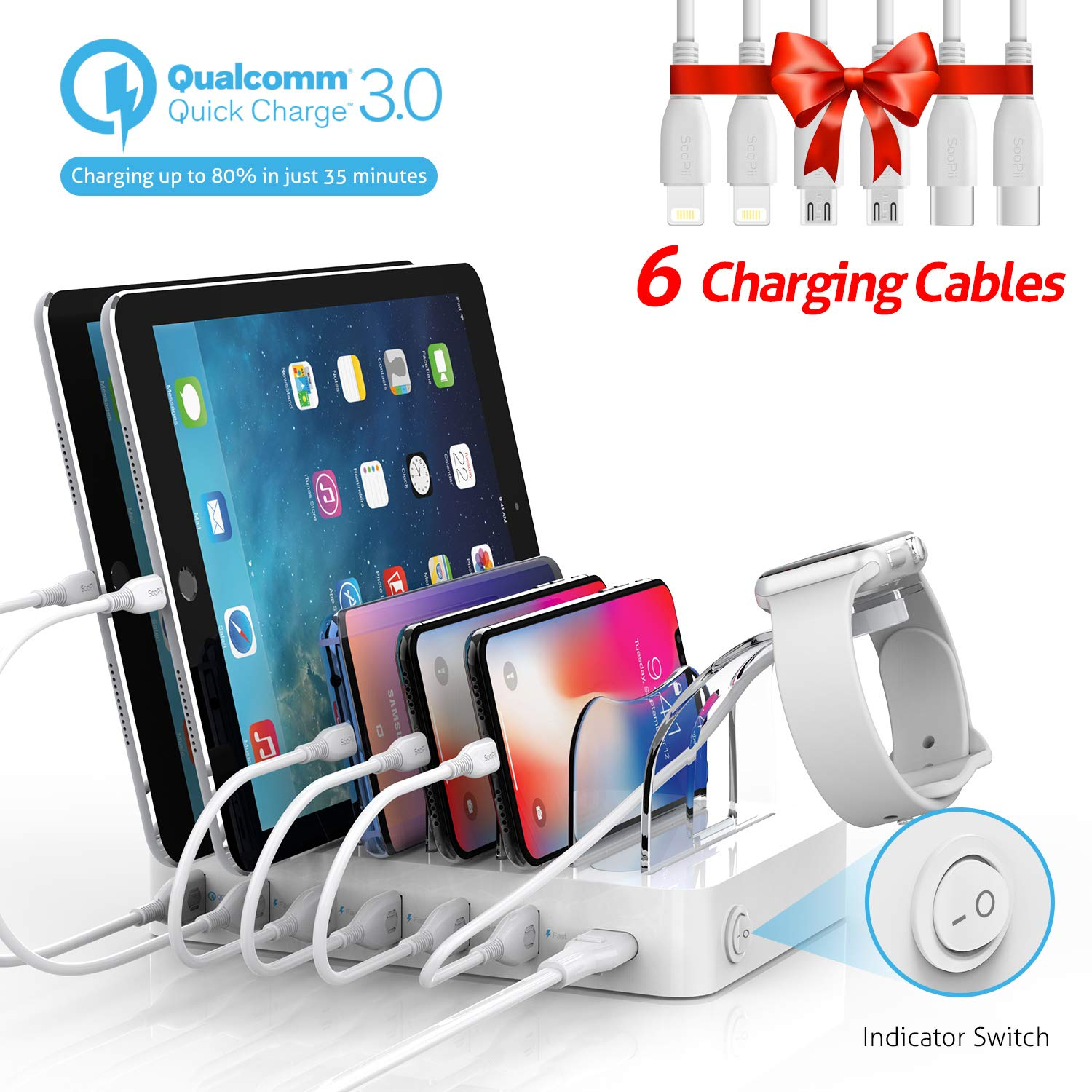 Soopii Quick Charge 3.0 60W/12A 6-Port USB Charging Station for Multiple Devices, 6 Cables Included(2 IOS 2 Micro 2 Type-C)