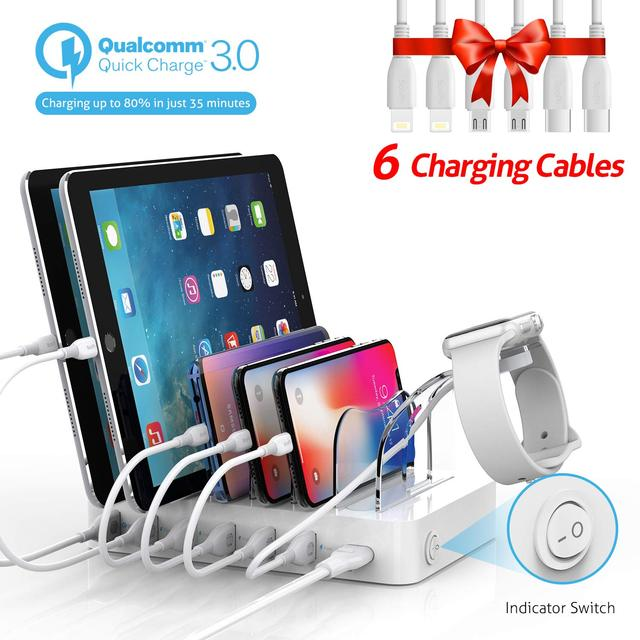 Soopii Quick Charge 3.0 60W/12A 6 Port USB Charging Station for Multiple Devices, 6 Cables Included(2 IOS 2 Micro 2 Type C)