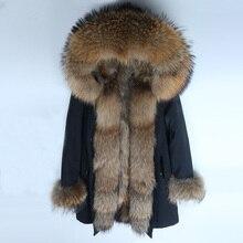 Мужская длинная толстая парка большого размера с воротником из меха енота, пальто из натурального меха енота, теплая зимняя верхняя одежда, зимняя куртка