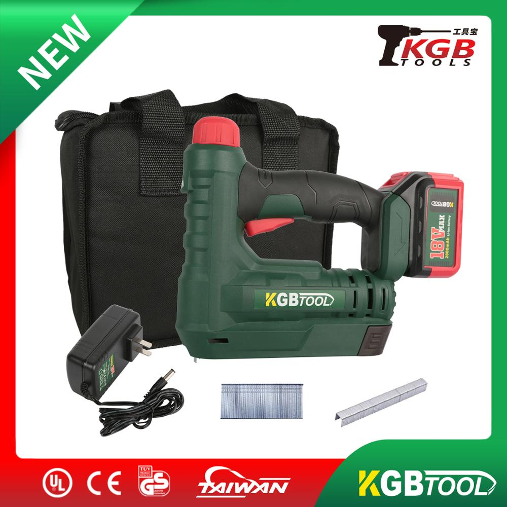 KGB 18V 2 In 1 Electric Stapler And Nailer Furniture Staple Gun For Frame With Staples & Nails Carpentry Woodworking Tools
