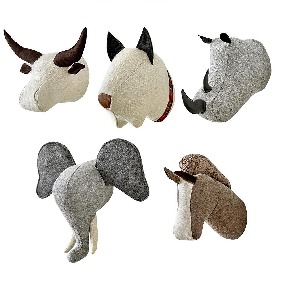 Plush Animal Head Doll Wall Mounted Stuffed Plush Toy Elephant Dog Horse Shape Hanging Ornaments Nursery Room Decoration