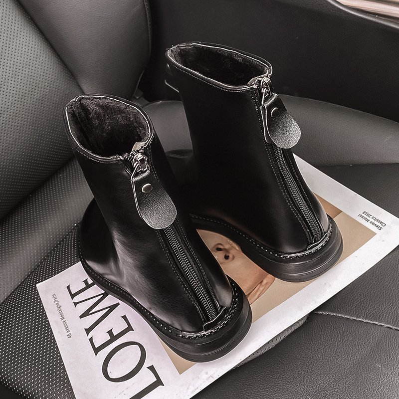 Women Brown Combat Boots 2020 Fashion Platform Black Leather Motorcycle Boots Gothic Shoes Women Back Zipper  Ankle Boots