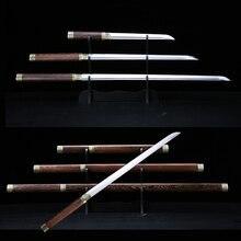 Shirasaya Katana Swords Chinese Tang Dao Straight Blade Handmade 1045 Carbon Steel Sharp Wooden Sheath Ready