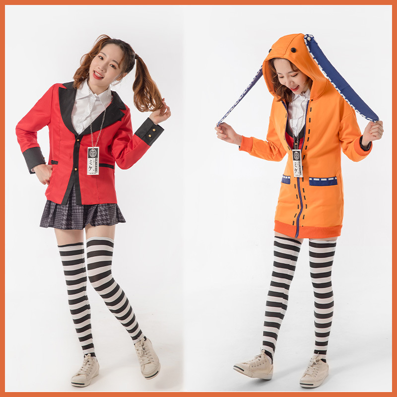 Yomoduki Runa Cosplay Costume Kakegurui Compulsive Gambler Runa Cosplay Wig and Orange Hooded Jacket JK Uniforms0 (6)