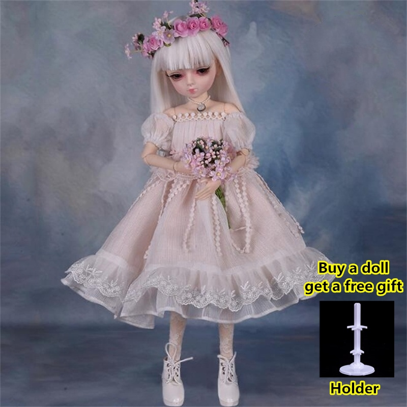 18 Movable Joints BJD Doll 1/4 With Full Outfits Wigs Shoes official Makeup Ball Jointed Dolls collection kids toys Christmas gi 11
