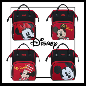 Disney New Baby Diaper Bag Waterproof Mummy Maternity Nappy Bag Backpack Large Capacity USB Heating Colorful Red Mickey Minnie