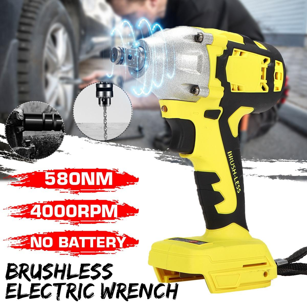 18V 580Nm Electric Brushless Impact Wrench Replacement 1/2 Socket Cordless Wrench 4000rpm Power Tool Without Battery&Accessories