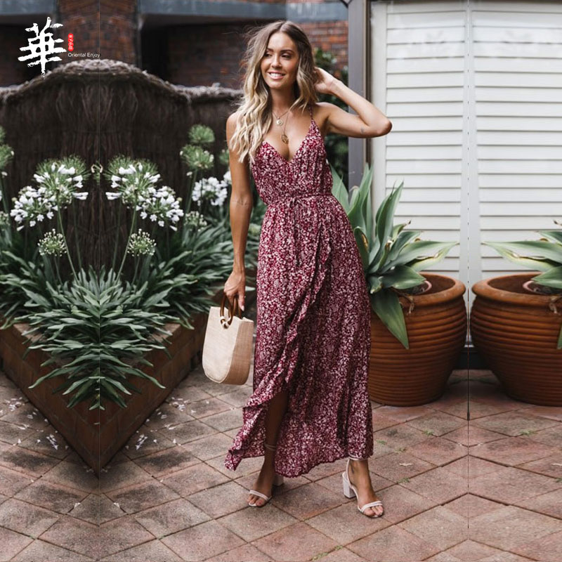 V-neck Split Women Floral <font><b>Dress</b></font> 2020 Elegant Bohemian Wrap Long Flower <font><b>Plus</b></font> <font><b>Size</b></font> Summer <font><b>Dresses</b></font> Female Holiday <font><b>Sexy</b></font> Beach Vest image